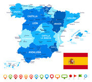 Ilustracja Hiszpania mapa, flaga i nawigacj ikony -, - Zdjęcie Royalty Free