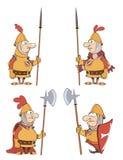 Ilustracja humor kreskówki rycerze ustawiający ilustracja wektor