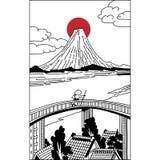 Ilustracja japończycy w Edo okresie z Fuji górą ilustracji