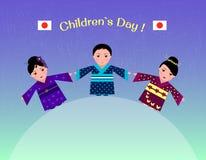 Ilustracja Japońscy dzieci w tradycyjnym kimonie na cześć dziecka ` s dzień Obrazy Royalty Free