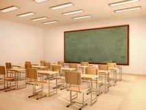 Ilustracja jaskrawa pusta sala lekcyjna z biurkami i krzesłami Fotografia Royalty Free