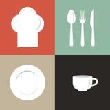ilustracja kapelusz, talerz, filiżanka i flatware szefa kuchni, royalty ilustracja