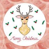 Ilustracja kartka bożonarodzeniowa z rogaczem Zdjęcie Royalty Free