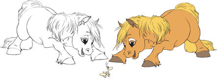 ilustracja koński wektor dwa zdjęcia royalty free