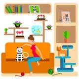 Ilustracja kobieta Otaczająca kotami Obrazy Royalty Free