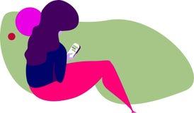 Ilustracja kobieta texting w telefonie komórkowym ilustracja wektor