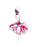 Ilustracja kobieta w modnej sukni Zdjęcia Royalty Free