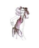 Ilustracja kobieta w modnych ubraniach Fotografia Royalty Free