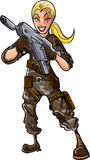 Ilustracja kobieta z maszynowym pistoletem Obrazy Royalty Free