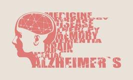 Ilustracja kobiety głowa z mózg ilustracja wektor