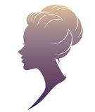 Ilustracja kobiety sylwetki ikona na białym tle Zdjęcie Stock