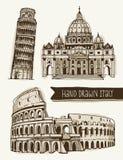 Ilustracja kolosseum, wierza Pisa, St Peter bazylika Zdjęcie Royalty Free