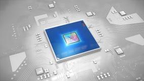 Ilustracja komputerowy procesor w jaskrawym błękicie na obwodu b Zdjęcie Stock