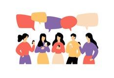 Ilustracja komunikować ludzi również zwrócić corel ilustracji wektora Wizerunek odizolowywa na białym tle Mieszkanie styl, biznes ilustracja wektor