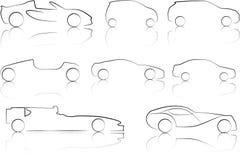 Ilustracja kontury samochody Obraz Stock