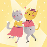 Ilustracja kotów tanczyć Zdjęcia Royalty Free