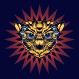 Ilustracja kot g?owa z z?otem, b??kit i ornamentacyjny t?o atrakcyjny i unikalny ilustracja wektor