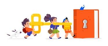Ilustracja kreskówek dzieci Wektorowa płaska ilustracja Dzieci otwierają książkę, wiedza Dzieci «s biblioteka Klucz nowy ilustracja wektor