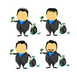 Ilustracja kreskówka biznesmena wp8lywy z torbą pełno pieniądze w pensyjnym mężczyzna pojęciu ilustracja wektor