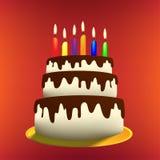 Ilustracja kreskówka Urodzinowy tort Obrazy Stock