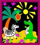 Ilustracja krokodyla i zebry bawić się Obrazy Stock