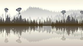 Ilustracja lasowi wzgórza z swój odbiciem w jeziorze Zdjęcia Stock