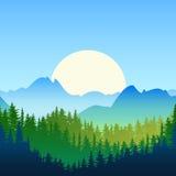 Ilustracja lata lub wiosny krajobraz Słońce, góry Zdjęcie Stock