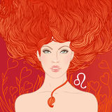 Ilustracja Leo zodiaka znak jako piękna dziewczyna Fotografia Royalty Free