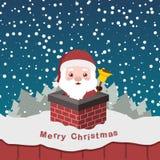Ilustracja śliczny Santa w kominie Obraz Stock