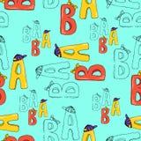 Ilustracja listy bezszwowy wzoru Kolorowi listy A i b Obraz Royalty Free