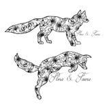 Ilustracja lisy zwierząt bawić się miłość pardwy piosenka dziki drewna natury Flory i fauny Obraz Stock