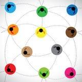 Ilustracja: ludzie sieci & sieci zasadzona społeczność ilustracji