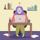Ilustracja ludzki działanie na laptopie ilustracji