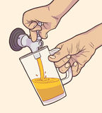 Ilustracja mężczyzna dolewania szkicu piwo w roczniku barwi ilustracji