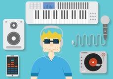 Ilustracja mężczyzna w hełmofonach z dj i muzycznymi instrumentami Płaski talerzowego dżokeja pojęcie Royalty Ilustracja
