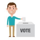 Ilustracja Męskiego charakteru kładzenia głosowanie W tajnego głosowania pudełku Zdjęcie Stock