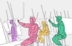 Ilustracja młodzi artyści boli w sztuki studiu ilustracja wektor