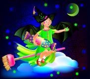 Ilustracja mały czarodziejski świętuje Halloween Obraz Royalty Free