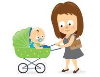 Kobieta z dziecko frachtem 2 ilustracja wektor