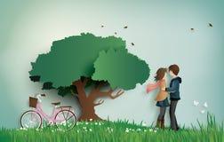 Ilustracja miłości i valentine ` s dzień z pary trwanie przytuleniem na trawy polu, ilustracji