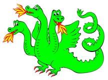 Ilustracja śmieszny zielony smok Obraz Stock