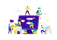 Ilustracja monitor z gadek wiadomościami wektor Mieszkanie styl Mocap, sieć szablon Drużyna pracownicy komunikuje w gadce royalty ilustracja