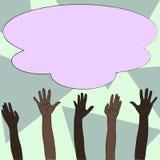 Ilustracja Multiracial różnorodność ręki Podnosi W górę dojechania dla Kolorowej Puszystej Dużej chmury Kreatywnie tło pomysł ilustracji