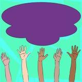 Ilustracja Multiracial różnorodność ręki Podnosi W górę dojechania dla Kolorowej Puszystej Dużej chmury Kreatywnie tło pomysł ilustracja wektor