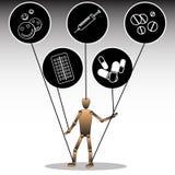 Ilustracja na temacie zależność na środkach farmaceutycznych Kukła wiązał ikony z medycznymi przygotowaniami wektor ilustracja wektor