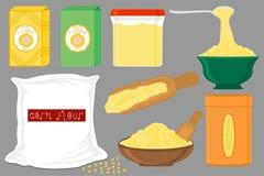 Ilustracja na tematów dużych ustalonych różnych typach dishware wypełniał kukurydzaną mąkę royalty ilustracja