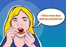 Ilustracja nastoletnia dziewczyna Flossing Jej zęby fotografia royalty free