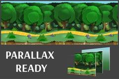 Ilustracja natura krajobraz z zielonym lasem i trawą, wektorowy bez końca tło z oddzielonymi warstwami Zdjęcia Stock