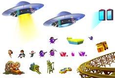 Ilustracja: Nauki fikci elementy Ustawiają 5 UFO, Mały bohater, portal, kopalnia, klejnotu grono, etc Obraz Royalty Free