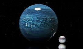 Ilustracja Neptune gwiazda i księżyc Elementy ten im Zdjęcia Stock